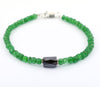 Certified Emerald Gemstone Bracelet With Pipe Shape Black Diamond Bead - ZeeDiamonds