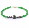 Designer 5mm Emerald Gemstone Bracelet With Black Diamond Bead - ZeeDiamonds