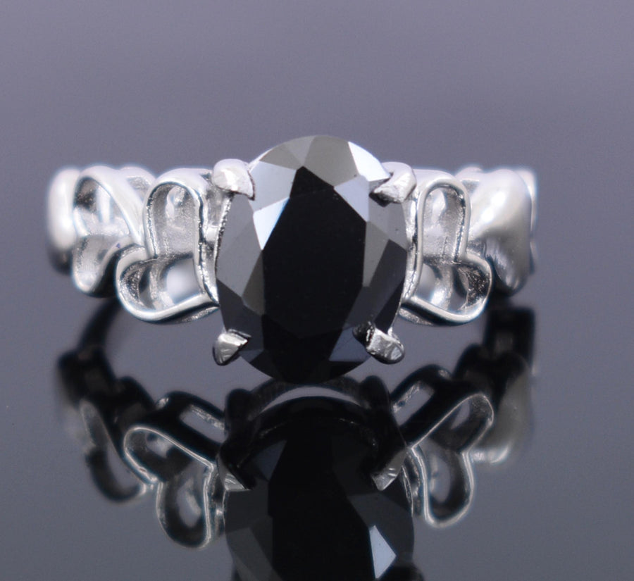 3-4 Ct Black Diamond Solitaire Ring in 925 Sterling Silver - ZeeDiamonds