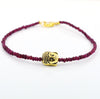 2.5 mm, 26.60 ct Handmade African Ruby and Buddha Bead Bracelet - ZeeDiamonds