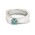 0.70 Ct Blue Diamond Solitaire Ring in Band Style - ZeeDiamonds