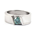 0.90 CT ROUND CUT BLUE DIAMOND SOLITAIRE RING IN 925 SILVER - ZeeDiamonds