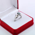 1-2 CT ROUND CUT BLUE DIAMOND SOLITAIRE RING IN 925 SILVER - ZeeDiamonds