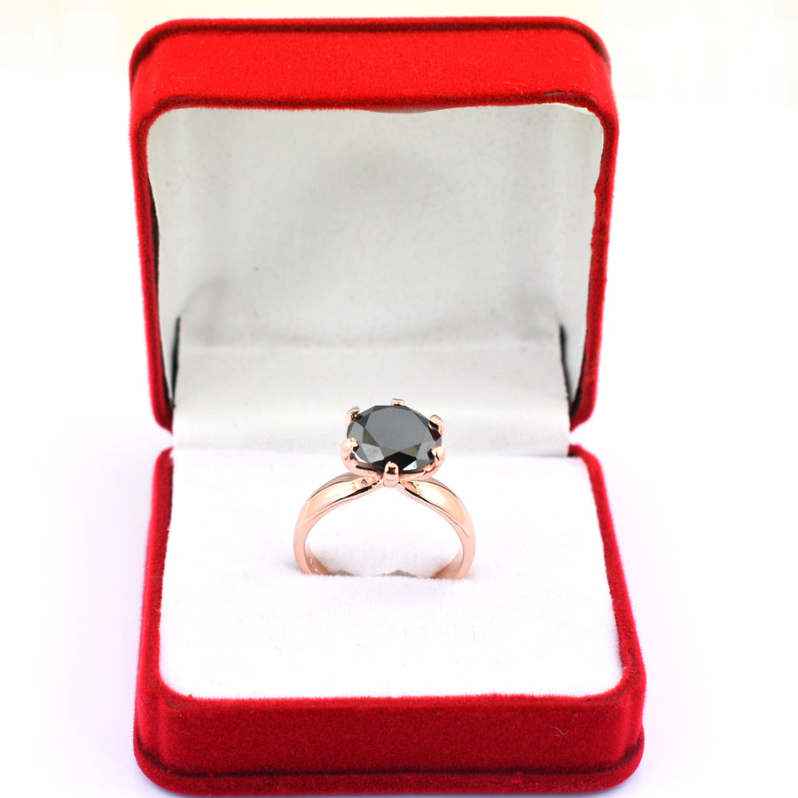 2.75 Ct AAA Quality Certified Round Brilliant Cut Black Diamond Solitaire Ring