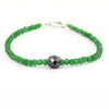 Emerald Gemstone Bracelet With 8 mm Black Diamond Bead, Certified