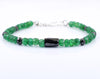 Certified Emerald Gemstone Bracelet With Black Diamond Bead, Great Luster - ZeeDiamonds