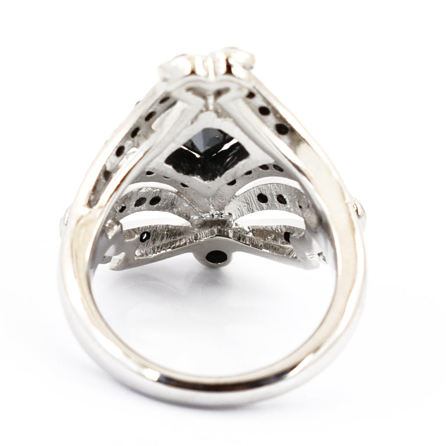 1 Ct Black Diamond Solitaire Ring With Black Diamond Accents - ZeeDiamonds