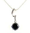 3.50 Ct Black Diamond Designer Pendant with White Accents on Loop - ZeeDiamonds