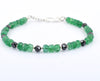Certified 5mm Emerald Gemstone Bracelet With 4mm Black Diamond Bead - ZeeDiamonds