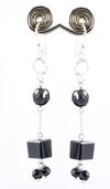 Designer Black Diamond Dangler Earrings With Rose Quartz In 925 Silver