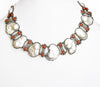 Vintage Style Baroque Pearl Necklace With Corals And White Diamonds
