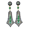 Elegant Emerald And White Diamond Dangler Earrings in Sterling Silver