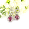 Natural Ruby Gemstone Dangler Earrings With VVS White Diamond Accents!
