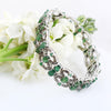 Emerald Gemstone Tennis Bracelet With Diamond Accents In Antique Style - ZeeDiamonds
