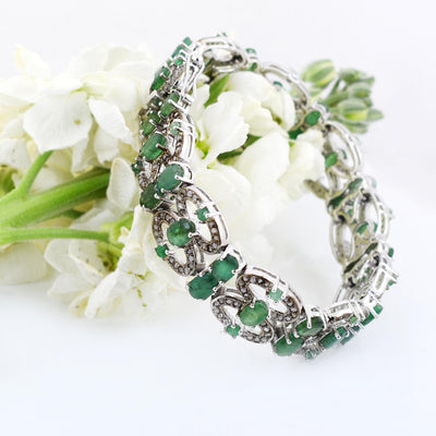 Emerald Gemstone Tennis Bracelet With Diamond Accents In Antique Style