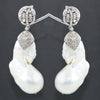 Elegant Vintage Style Baroque Pearl Earrings With White Diamond Accent