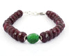 8-10 mm Ruby Gemstone Beads with Emerald Silver Clap Bracelet