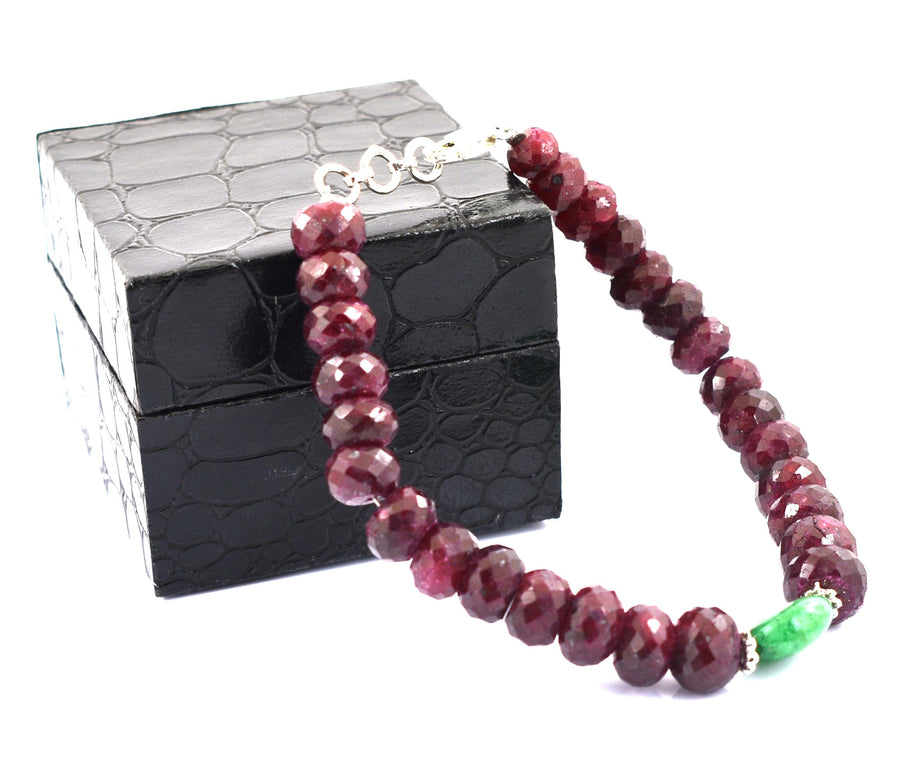 8-10 mm Ruby Gemstone Beads with Emerald Silver Clap Bracelet - ZeeDiamonds