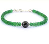 5mm Emerald Gemstone Bracelet With 8mm Black Diamond Bead - ZeeDiamonds