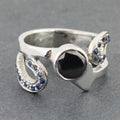 Black Diamond Solitaire Ring With Blue Sapphire Accents - ZeeDiamonds