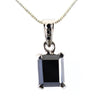 5.80 Ct AAA Quality Black Diamond Solitaire Pendant in White Gold Finish - ZeeDiamonds