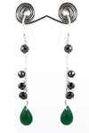 Black Diamond Dangler Earrings with Emerald Beads, Birthday Gift