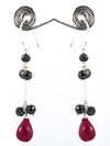 100% Certified Ruby Gemstone with Black Diamond Dangler Earrings - ZeeDiamonds