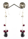 Certified Ruby Gemstone with Black Beads Dangler Earrings, Elegant Look