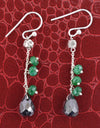 Black Diamond Dangler Earrings with Emerald Beads, AAA Certified