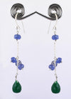 Emerald & Tanzanite Gemstone Dangler Earrings, Gorgeous Looking - ZeeDiamonds