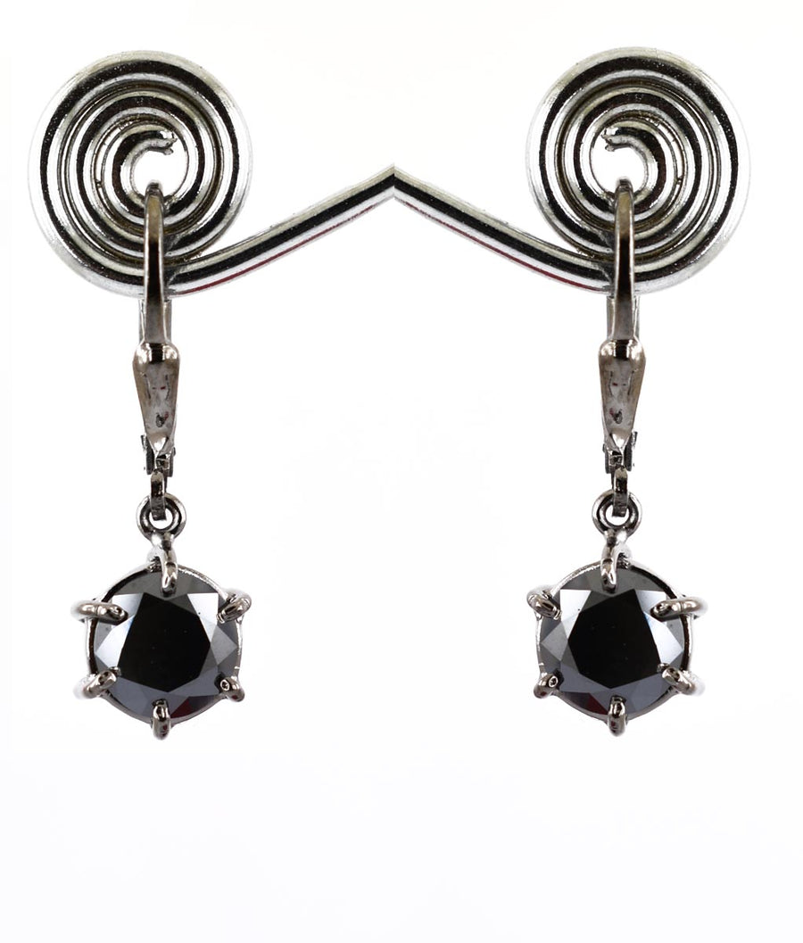3 Ct Certified Black Diamond Solitaire Dangler Earring With 6 Prong Setting - ZeeDiamonds