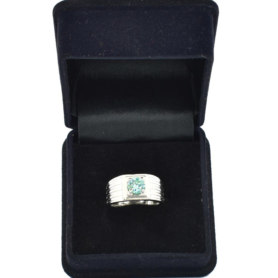 2-3 CT ROUND BLUE DIAMOND RING IN STERLING SILVER - ZeeDiamonds