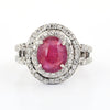 5Ct Natural Ruby Gemstone Ring With VVS White Diamond Accents
