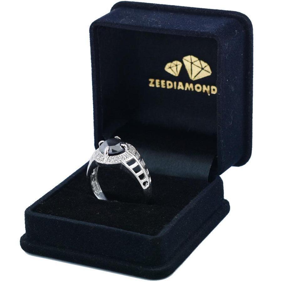 1.5 Ct Black Diamond Designer Ring With White Diamond Accents - ZeeDiamonds