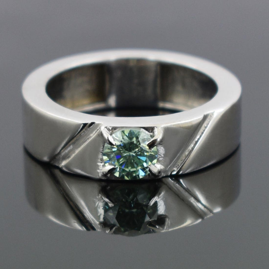 0.9 CT BLUE DIAMOND SOLITAIRE RING IN 925 STERLING SILVER - ZeeDiamonds