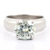 2.40 Ct Certified Off-White Tinge of Blue Diamond Ring, Band Style