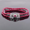 3 Rows Ruby Gemstone Bracelet with Black Diamond Beads with Ruby Clasp