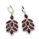 1.5 Ct, Red Garnet Leaf Style Earring in 925 Silver - ZeeDiamonds