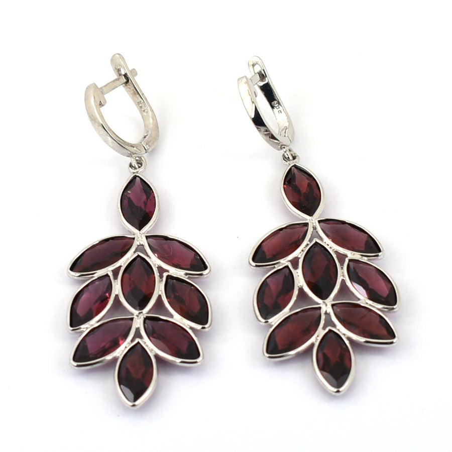 1.5 Ct, 100% Certified Reddish-Brown Garnet Stone Leaf Designer Earring Gift For Girl's - ZeeDiamonds
