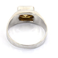 2.5 Emerald Cut Champagne Diamond Solitaire Band Ring in Sterling Silver - ZeeDiamonds