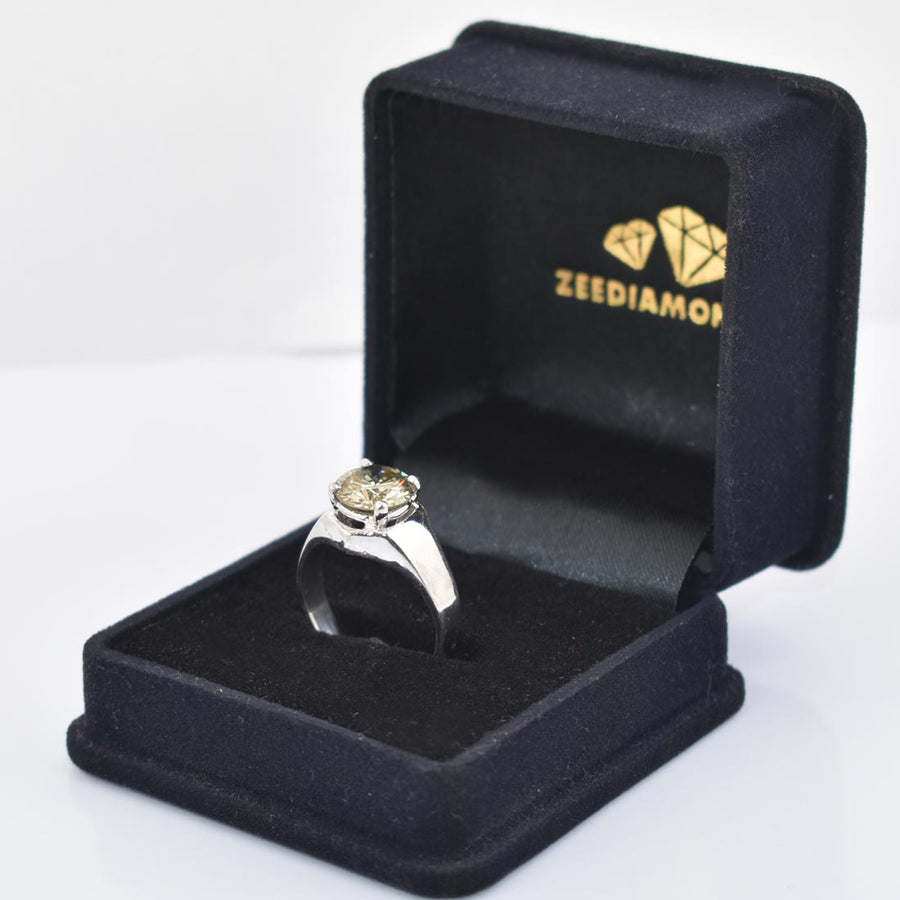 3.2Ct Champagne Diamond Solitaire Unisex Ring, Excellent Cut & Luster - ZeeDiamonds