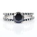 1-1.5 Ct Black Diamond Solitaire Ring With Accents in 925 Silver - ZeeDiamonds
