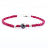 Ruby Gemstone Bracelet with Black Bead & Silver Finding, 100% Certified - ZeeDiamonds