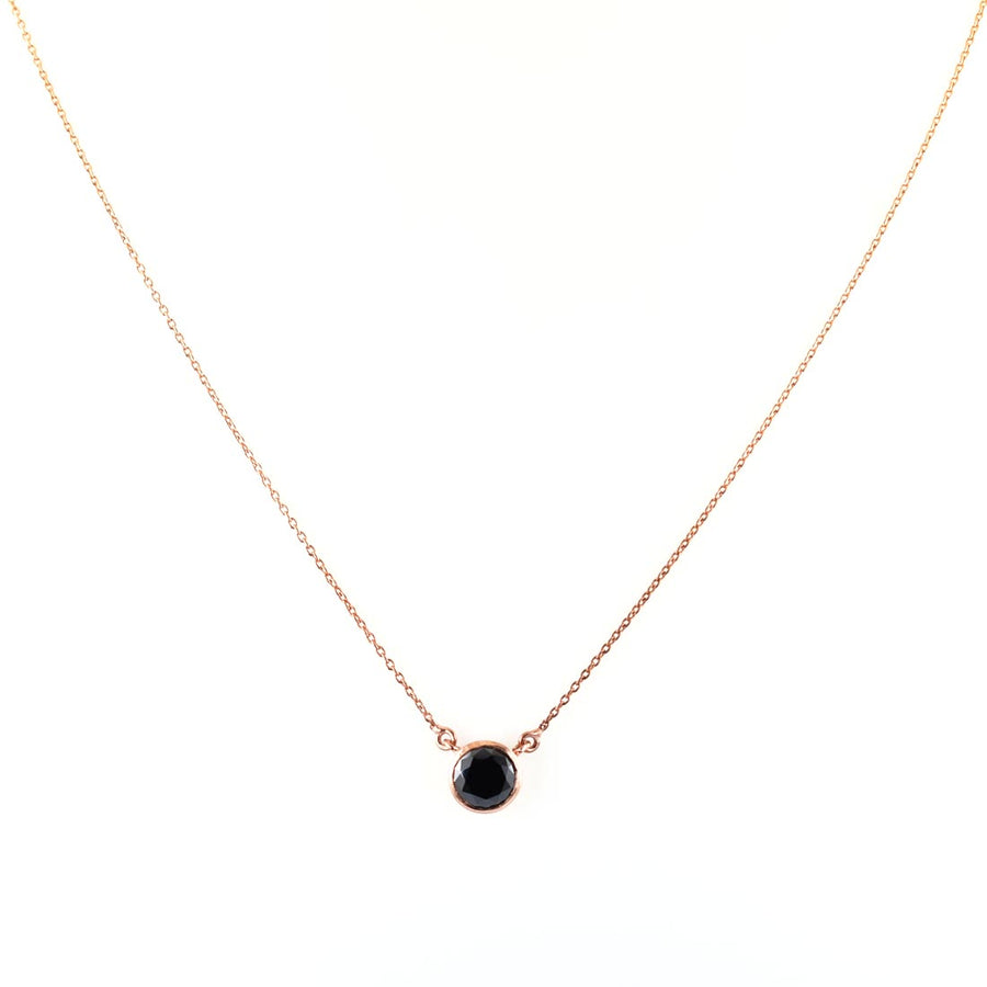 6.30 Ct AAA Quality Brilliant Cut Black Diamond Solitaire Pendant in Rose Gold Finish - ZeeDiamonds
