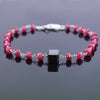 Ruby Gemstone Chain Bracelet with 7 mm Black Diamond Bead, Certified