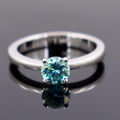 1-2 CT ROUND CUT BLUE DIAMOND SOLITAIRE RING IN 925 STERLING SILVER - ZeeDiamonds