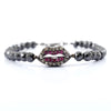 Black Diamond Bracelet With Vintage Bead with Ruby Accents