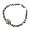 Black Diamond With Green Emerald Pave Gemstone Bead Fancy Bracelet - ZeeDiamonds