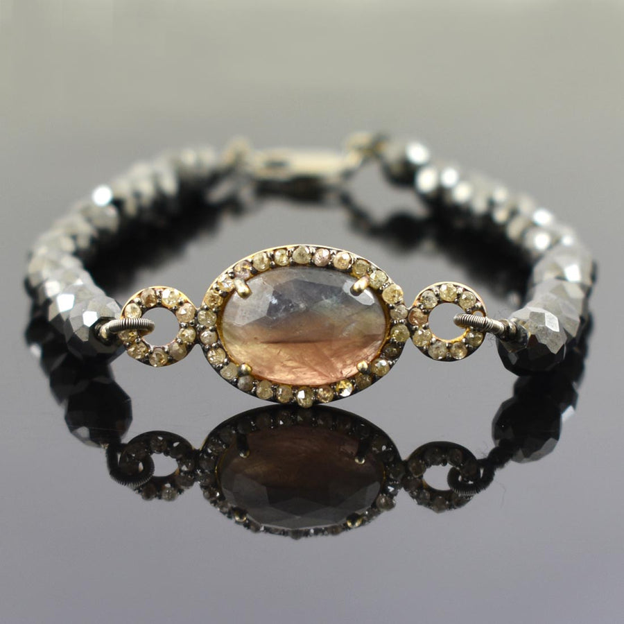 Black Diamond Bracelet With Sapphire and Rose Cut Diamond Accents