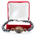 59 Cts Black Diamond & Sapphire Rose Cut Diamond Accents Designer Bracelet - ZeeDiamonds